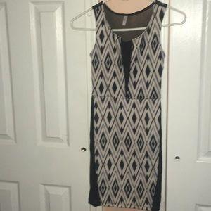 Black and white sheer mini dress